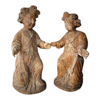 17th Century Carved Cherubs/Acolytes - a Pair