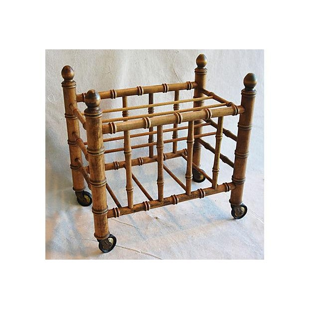 1920s Carved Wooden Bamboo-Style Magazine Rack Holder - Image 2 of 11