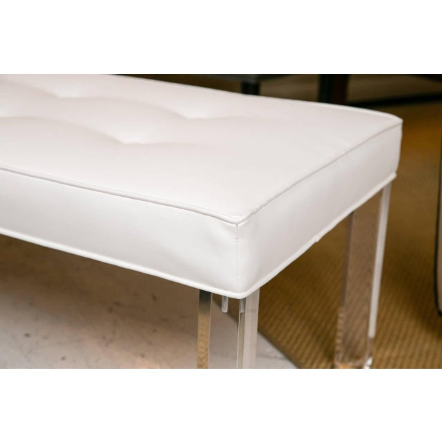 Mid-Century Lucite Tufted White Vinyl Bench - Image 3 of 7