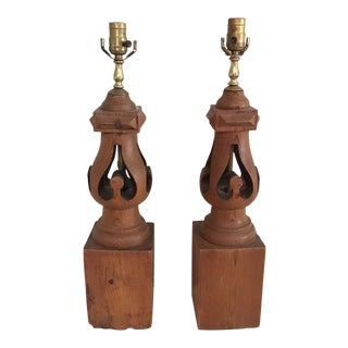 Wooden Lamps - A Pair