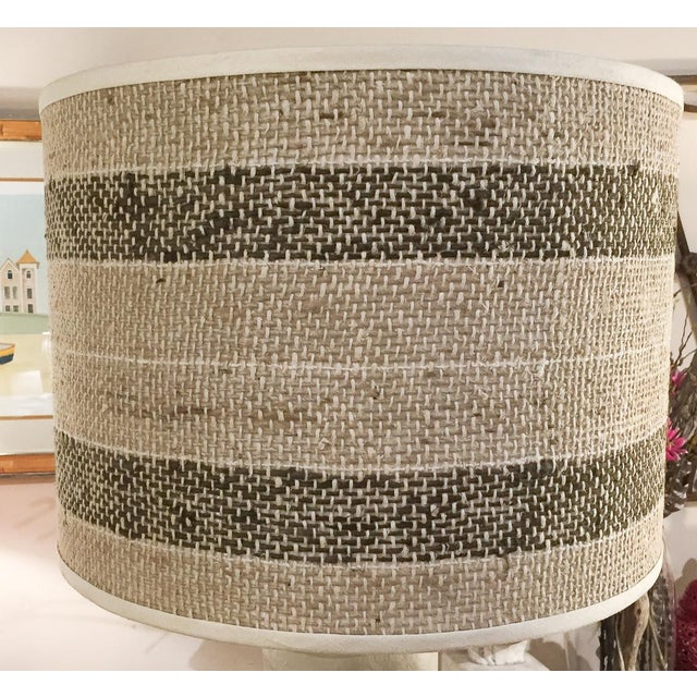 Image of Large Burlap Striped Lamp Shade
