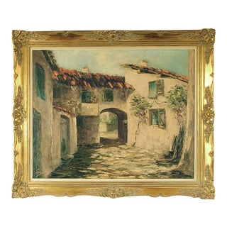 French Oil on Canvas Painting -- A Provencal Village by G. Bailly