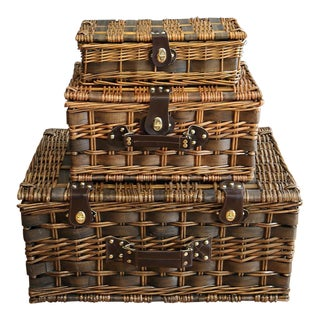Nesting Wicker Picnic Baskets - Set of 3