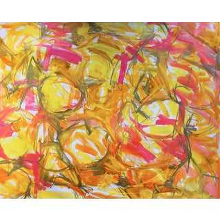"Extra-Large Abstract by Trixie Pitts ""Water Lilies Red Gold"""