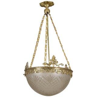 Art Nouveau Gilt Bronze and Etched Glass Dome Hanging Fixture
