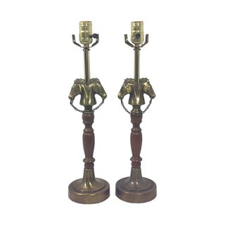 Equestrian Table Lamps-Brass Horse Head Lamps