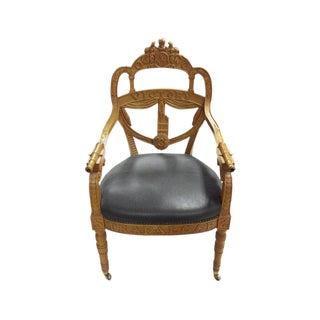Carved Wood Regency Style Victory Chair