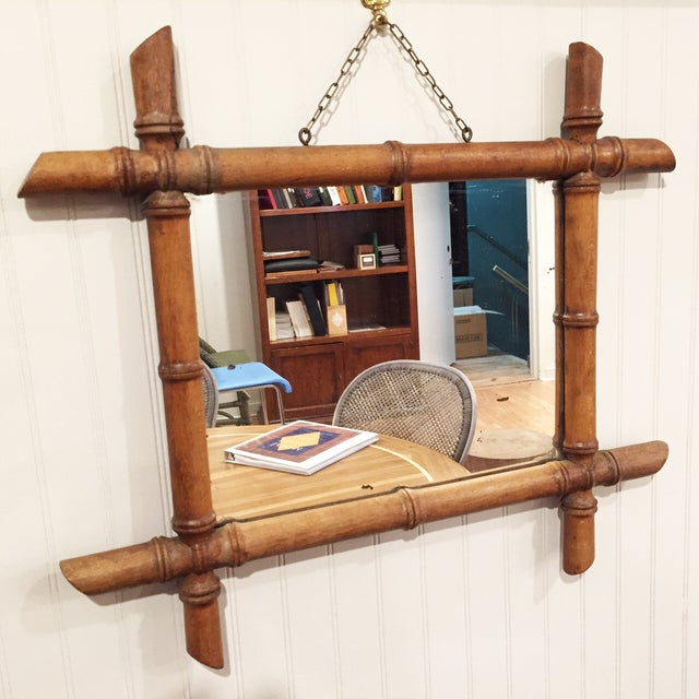 Antique French Bamboo Wood Framed Mirror   Chairish