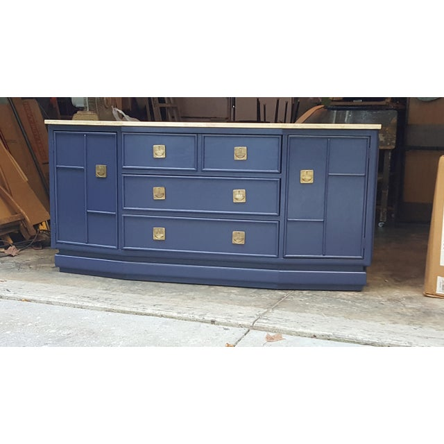 Vintage Campaign Regency Marble Top Painted Sideboard - Image 10 of 10
