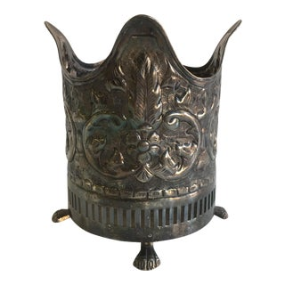 Vintage Silver Style Wine Bucket With Lion Feet