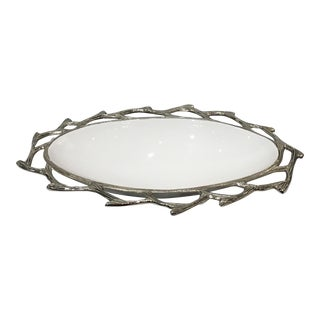 Silver Faux Bois and White Enamel Oval Bowl