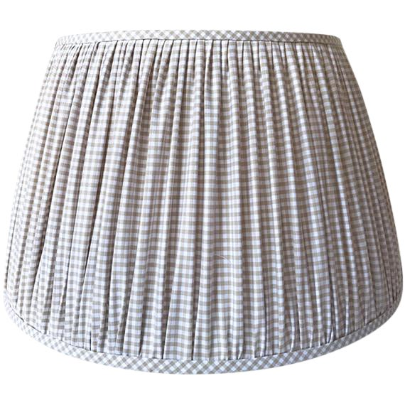 Beige Gingham Check Gathered Sconce Lamp Shade - Image 1 of 3