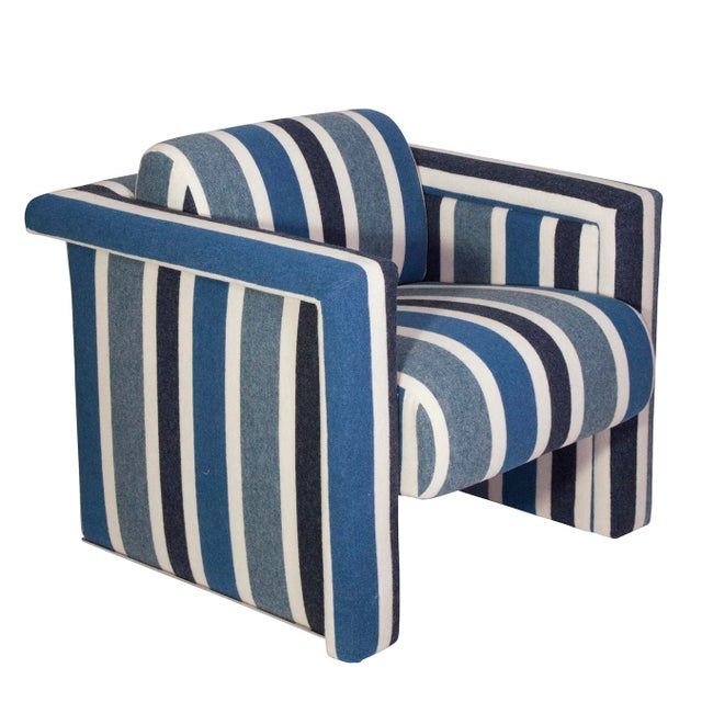 Nautical Club Chairs in Blue and White Wool - A Pair - Image 3 of 5