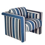 Image of Nautical Club Chairs in Blue and White Wool - A Pair