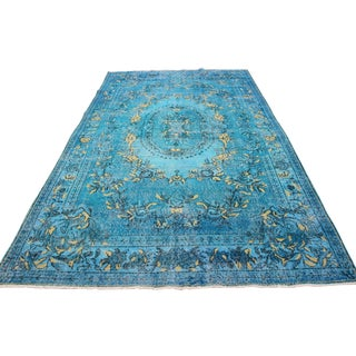 "Aqua Overdyed Turkish Oushak Rug - 10'4"" X 6'1"""