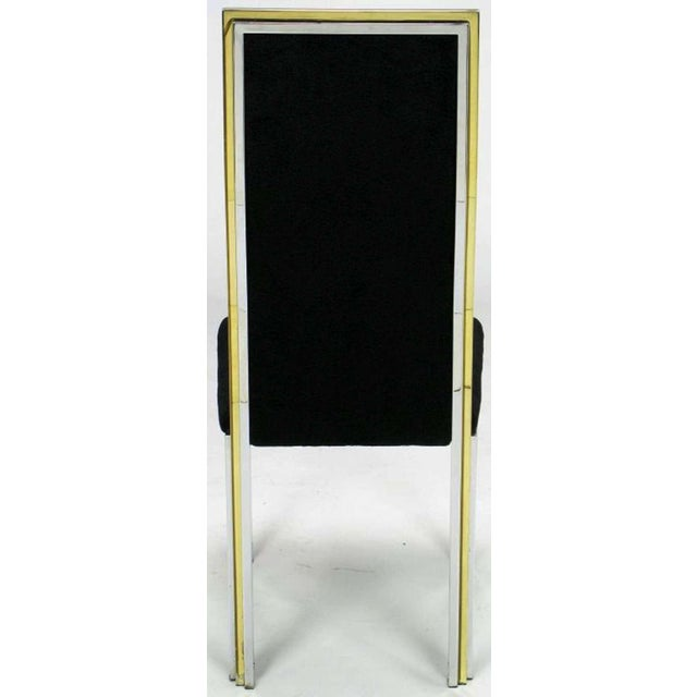 Six Chrome & Brass Dining Chairs Attributed to Romeo Rega - Image 6 of 8