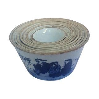 Chinese Blue & White Nesting Bowls - Set of 10
