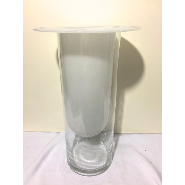 Image of Modern Two-Piece White & Transparent Vessel Vase
