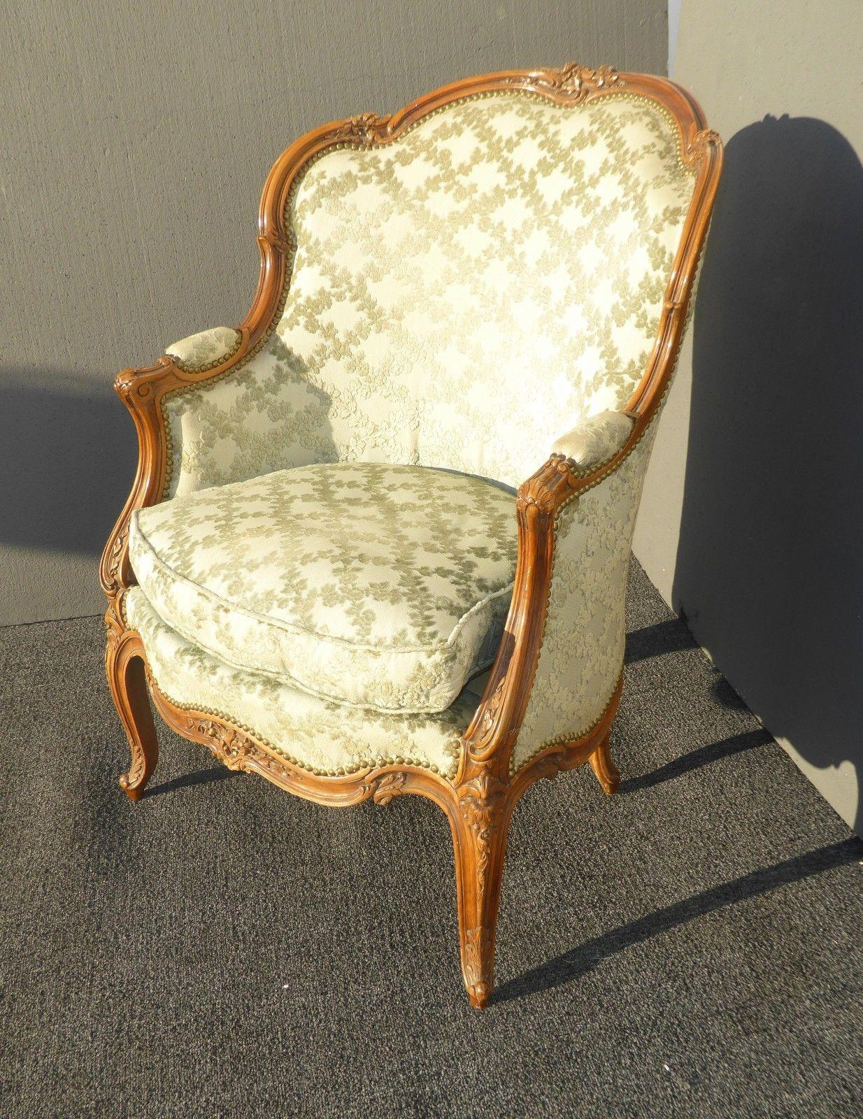 Vintage Carved French Louis XV Style Sage Bergere Chair   Image 4 Of 11