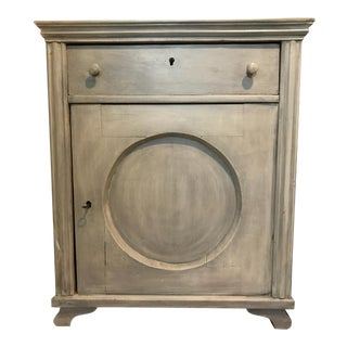 Antique European Swedish Grey Painted Pine Cupboard