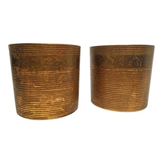 1960s Japanese Mottled Gold Cachepots - A Pair