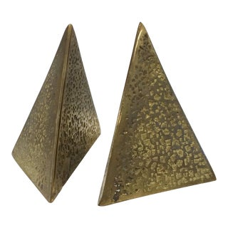 Vintage Mid-Century Brass Pyramid Bookends