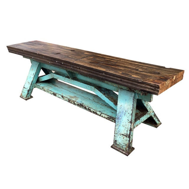 Rustic Industrial-Inspired Reclaimed Wood Bench - Image 1 of 5