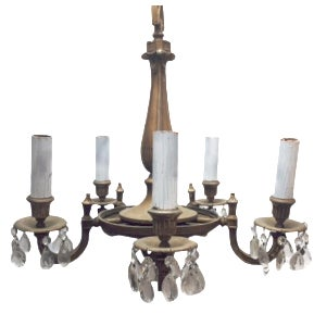 Victorian 5-Light Silver & Lead Crystal Chandelier