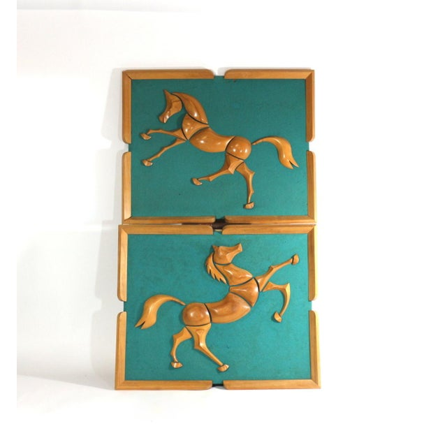 1950s Turquoise Wood & Wool Horse Wall Art -A Pair - Image 2 of 6