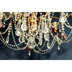 Image of Classic Eight Light Italian Crystal Chandelier With Gilt Wood Bobeches