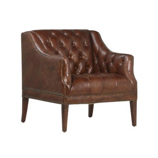 Aged Brown Leather Armchair