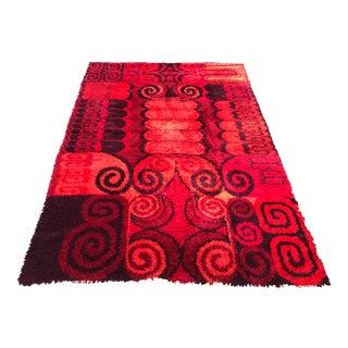 Mid-Century Modern Rya Abstract Red Rug