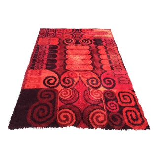 Mid-Century Modern Rya Abstract Red Rug