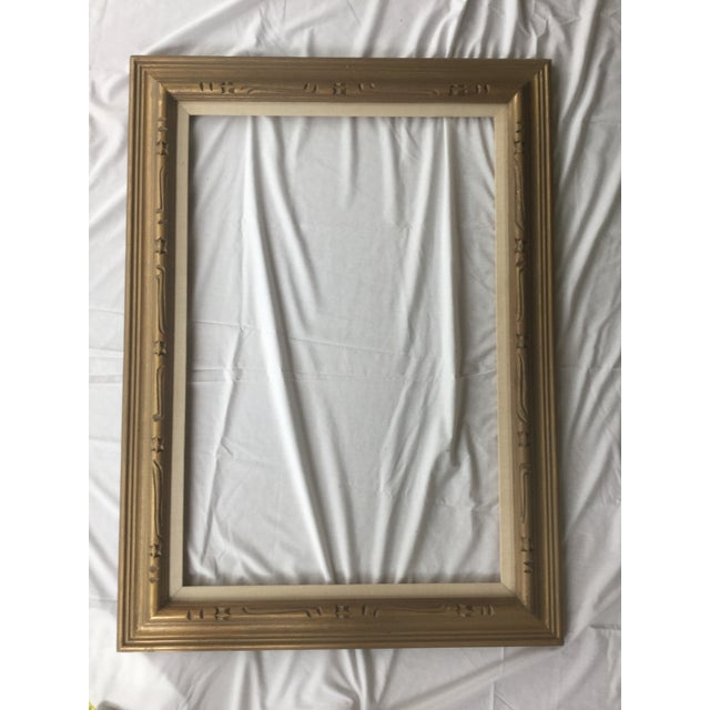 Large Mid-Century Gold Carved Gold Wood Frame - Image 4 of 11