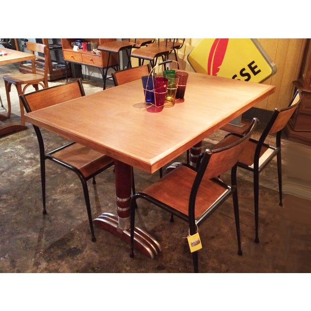 Vintage French Art Deco Bistro Dining Table - Image 4 of 8