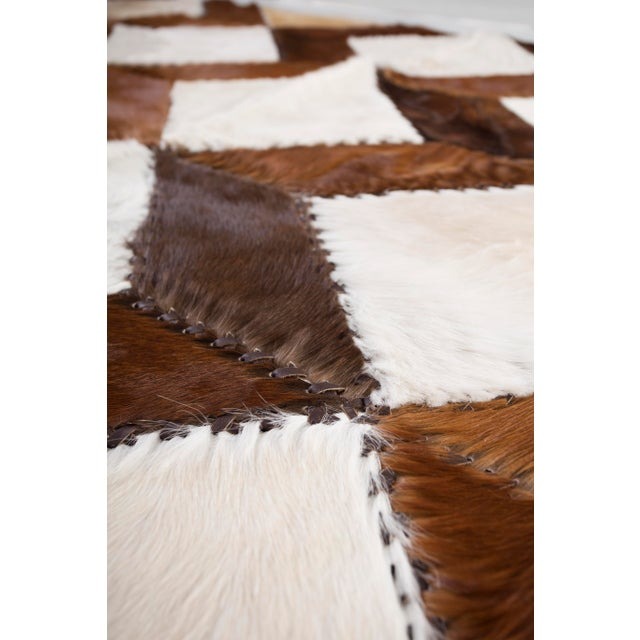 "Square Chevron Cowhide Patchwork Area Rug - 5'5"" x 7'11"" - Image 4 of 8"