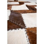 "Image of Square Chevron Cowhide Patchwork Area Rug - 5'5"" x 7'11"""