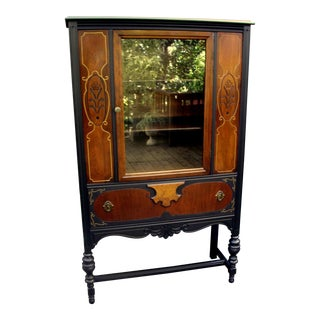 1920s Heirloom Walnut and Black China Cabinet