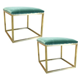 Taylor Burke Home Brass Olivia Benches in Emerald Velvet - A Pair