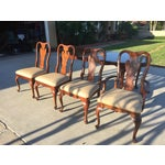Image of Queen Anne Cherry Wood Dining Set - Table & Chairs
