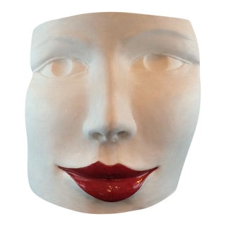 """Red Lips Face,"" Terra Cotta Sculpture by Ginestroni"