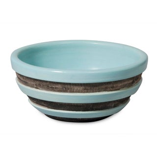 Pale Green Banded Ceramic Bowl by Pol Chambost
