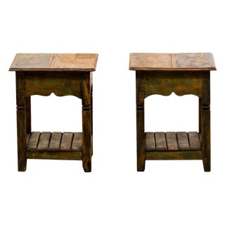 Reclaimed Solid Wood Side Tables - A Pair