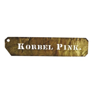 "Vintage Brass ""Korbel Pink"" Wine Stencil"