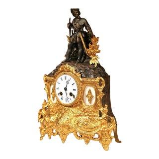 French Renaissance Bronze Doré Mantel Clock