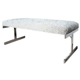 Flatbar Chrome Upholstered Bench