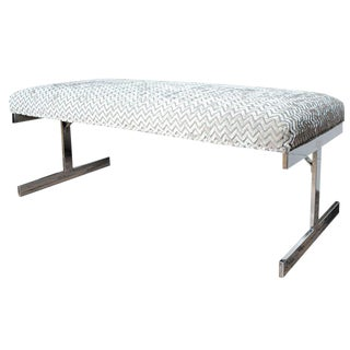 Flatbar Chrome Upholstered Bench