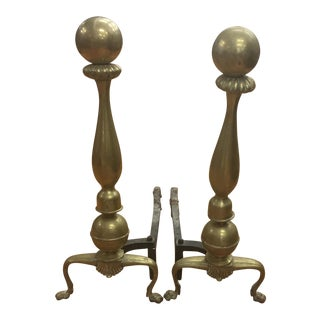 Andirons - Vintage Brass Andirons - a Pair