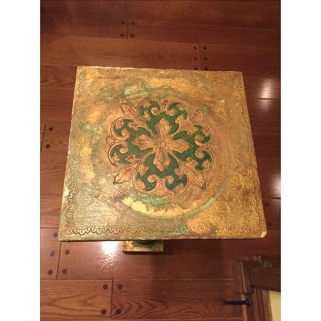Florentine Green & Gold Italian Pedestal - Image 4 of 8