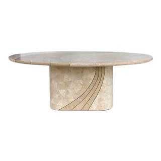 Tessellated Stone & Brass Dining Table